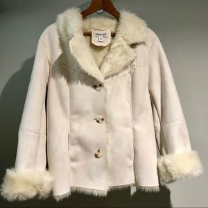 White Faux Fur/Suede Coat from Coldwater Creek